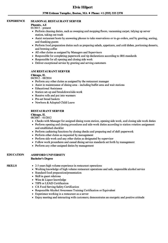 restaurant server resume sample Wunderschön Resume Example
