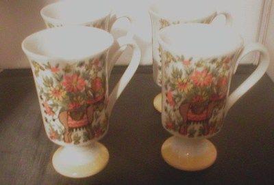 Royal Crown Smug Pedestal Mugs set of 4, numbered vintage orange floral