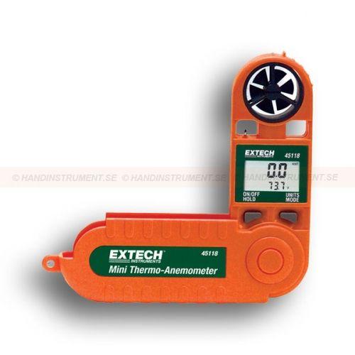 http://termometer.dk/luftflowmaler-r13135/sma-kombineret-termometer-og-vindmaler-53-45118-r13146  Små kombineret termometer og vindmåler  Viser lufthastighed og temperatur eller vind chill faktor  Valgbar gennemsnit måling funktionalitet i 5, 10 eller 13 sek. intervaller  Hængslet beskyttende Kabinettet udvider 229 mm med bedre rækkevidde  Stativgevind  dataholdefunktion med Auto-shutdown Garanti: 2 År
