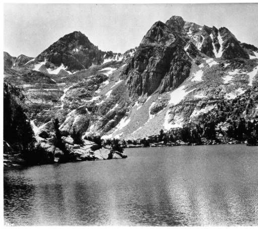 View of Roe Lake and Roe Peak in Sierra Nevada, Fresno, California, ca.1910 :: California Historical Society Collection, 1860-1960