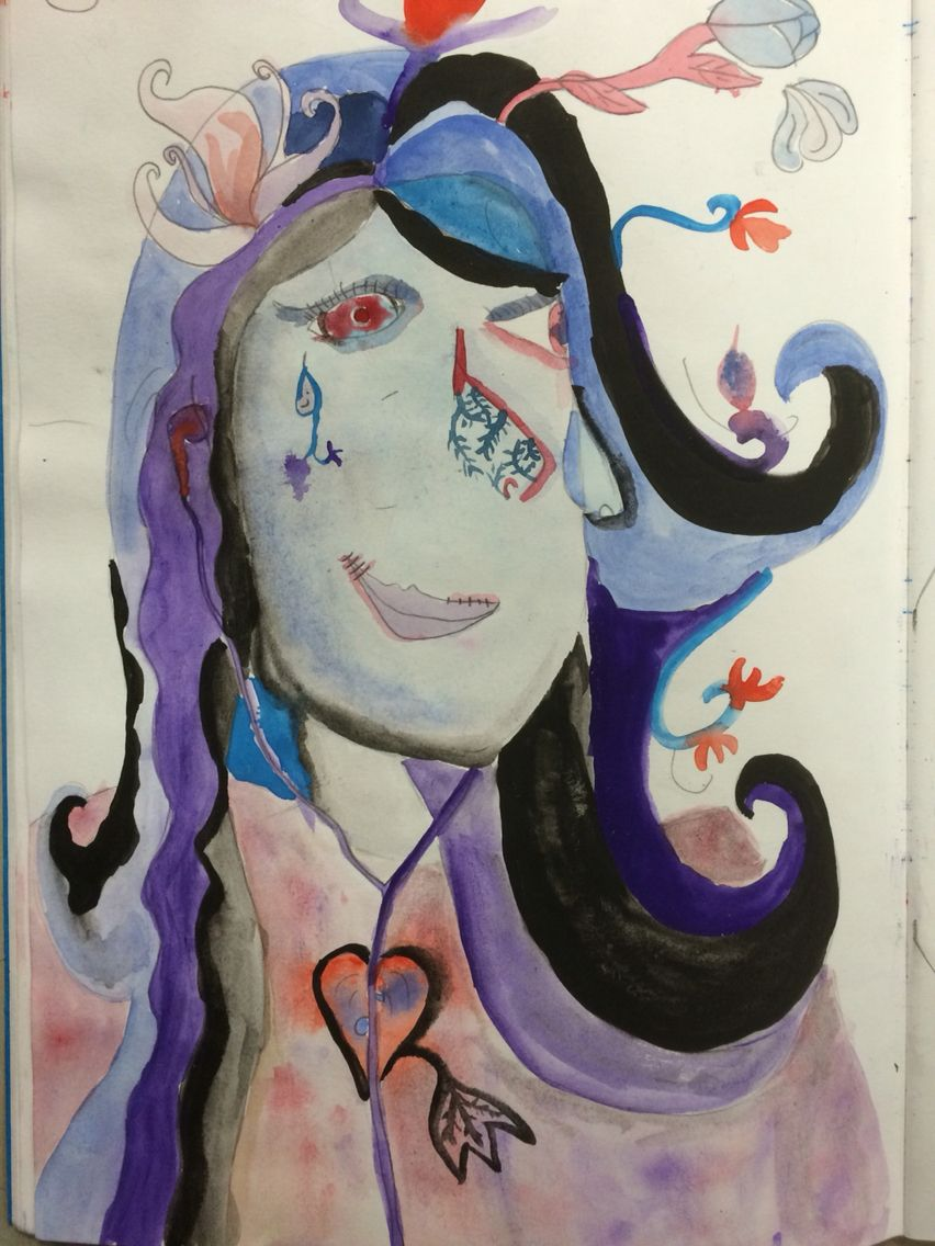 Charlotte, responding to Picasso's colour and composition concept for the Y9 'This is Me' Project. St Mary's Catholic High School