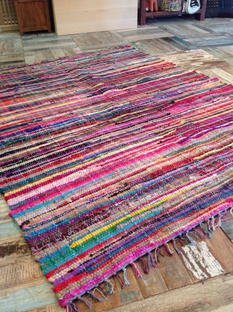Fair Trade Indian Large Vintage Shabby Chic Multi Coloured Rag Rug 150cm X 210cm In Home Furniture Diy Rugs Carpets Ebay