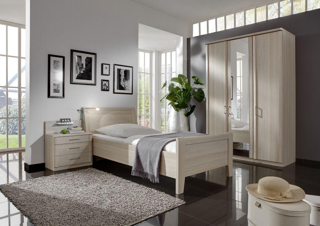 Schlafzimmer Mit Bett 90 X 200 Cm Edel-esche Nachbildung Woody 138