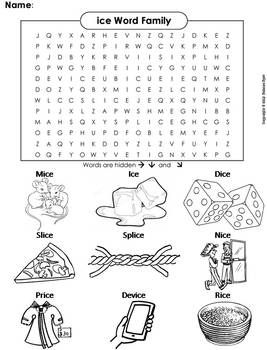 Ice Word Family Word Search Coloring Sheet Phonics Worksheet Word Families Phonics Worksheets Phonics