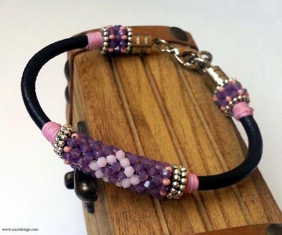 Beaded Bracelet - Beaded Crochet Bracelet - Swarovski Bangle