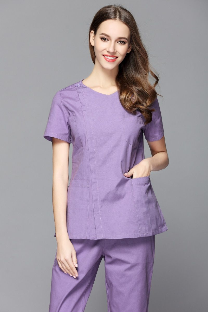 0270be4ee04 Women's 100% cotton V neck design side opening medical scrub set nurse and  health care slim fit uniform dental clinic clothes. #Women #cotton #neck  #design ...