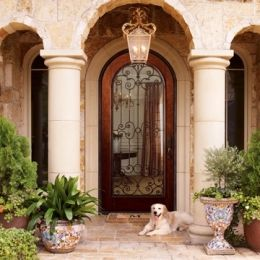"""08957-860-002 Tuscan 48"""" Exterior Glass Door with Hand-Forged Iron Accents, Hardwood Construction, Unfinished"""