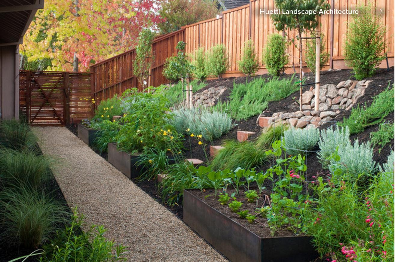 sloping yard landscape design. | Sloped backyard ...