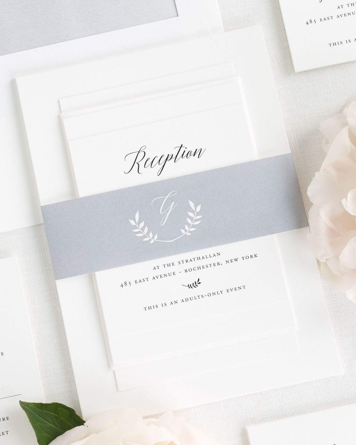 Dove Gray Wedding Invitations With Belly Band And Watercolor Envelope Liner