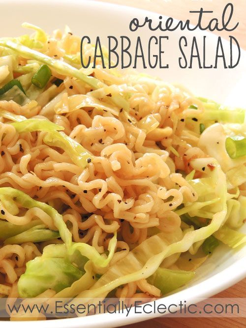 Ramen Noodle Cabbage Salad Oriental Cabbage Salad |  | This oriental ramen noodle cabbage salad is a great addition to a summer barbecue or potluck! Quick to throw together, this salad is also a great make-ahead dish.