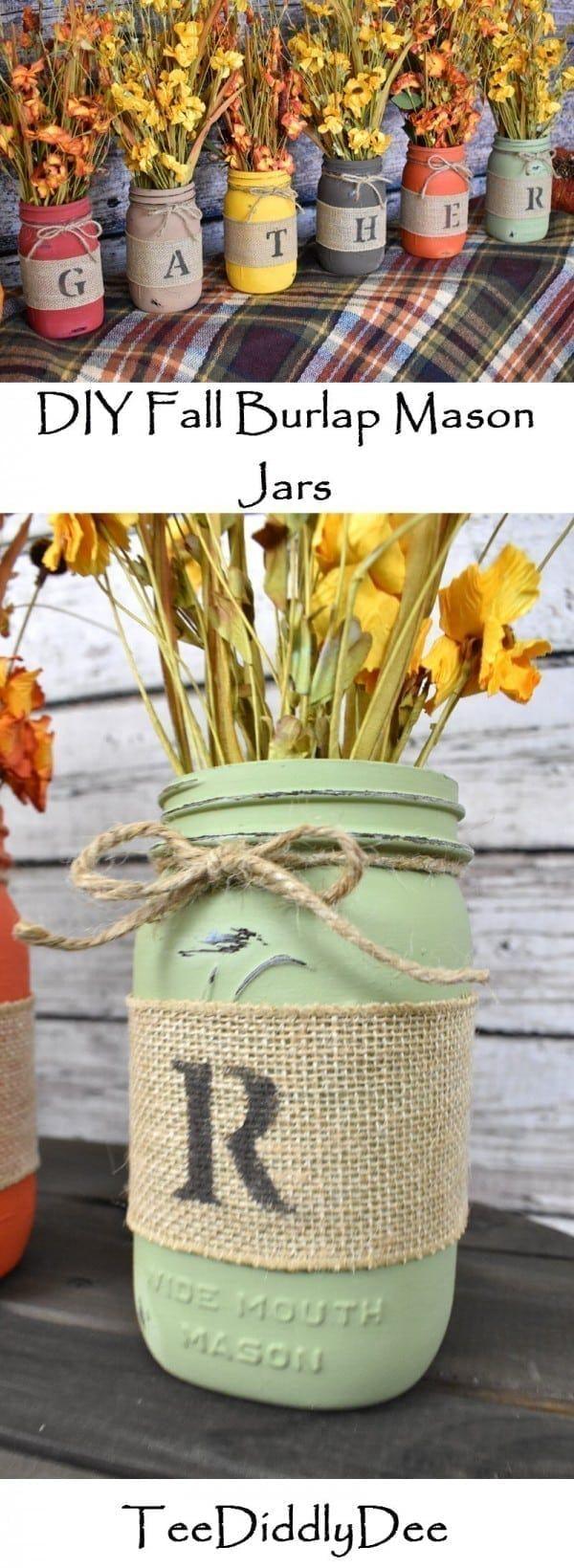 DIY Fall Burlap Mason Jar Vases #masonjardiy