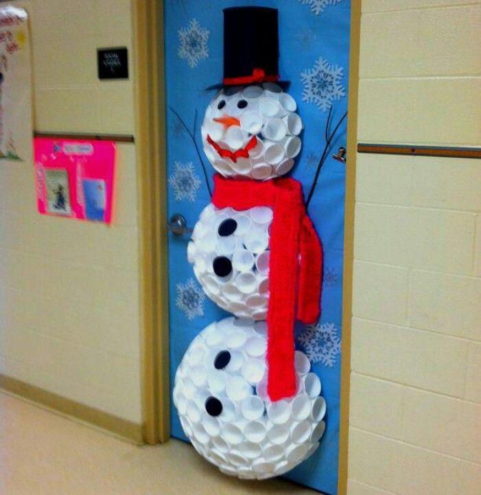 Plastic Cup Snowman Door Decorating Idea