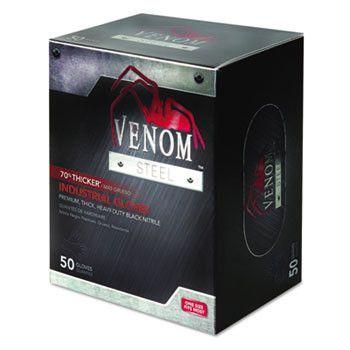 Venom Steel Industrial Nitrile Gloves, X-Large, Black, Powder-Free, 50/box