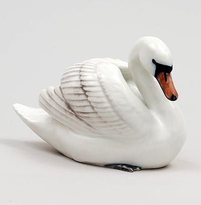 Polychrome glazed porcelain sculpture of a Swan design Allan Therkelsen 1995 executed by Royal Copenhagen Denmark 1995-2000
