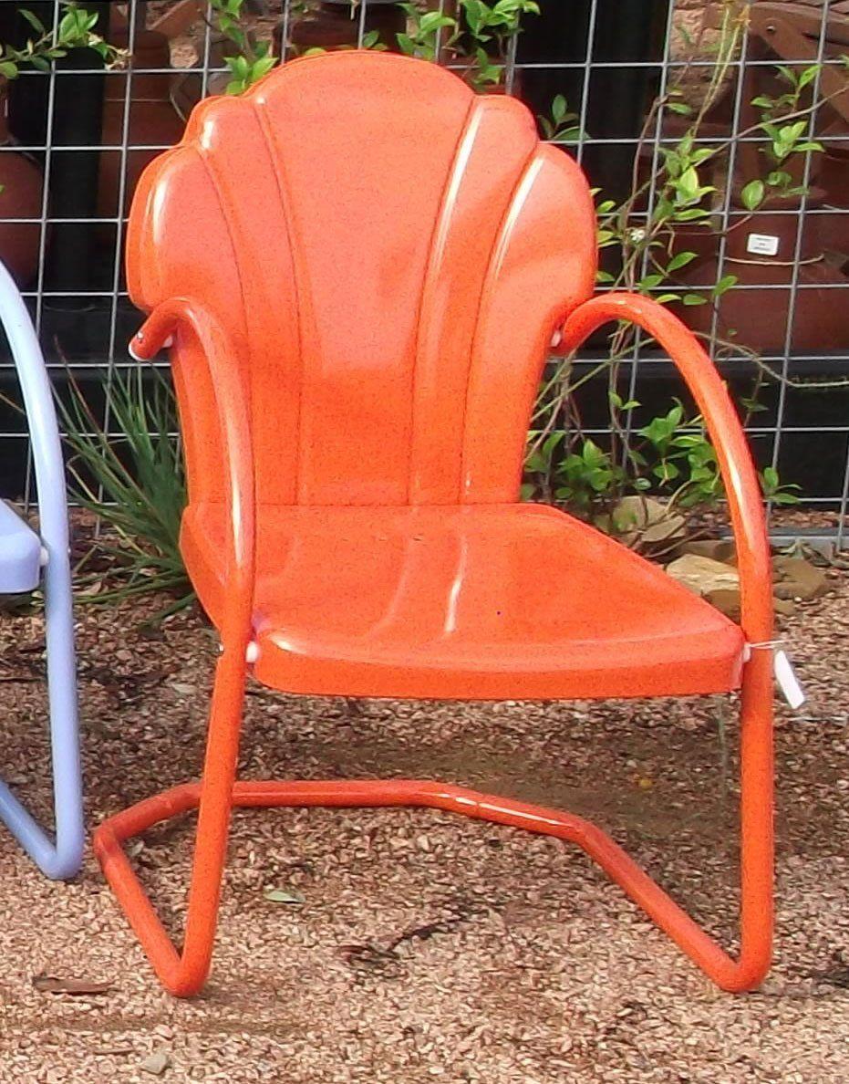 Amazon.com  Parklane Retro Metal Lawn Chair Tangerine  Patio Lawn u0026 & Amazon.com : Parklane Retro Metal Lawn Chair Tangerine : Patio ...