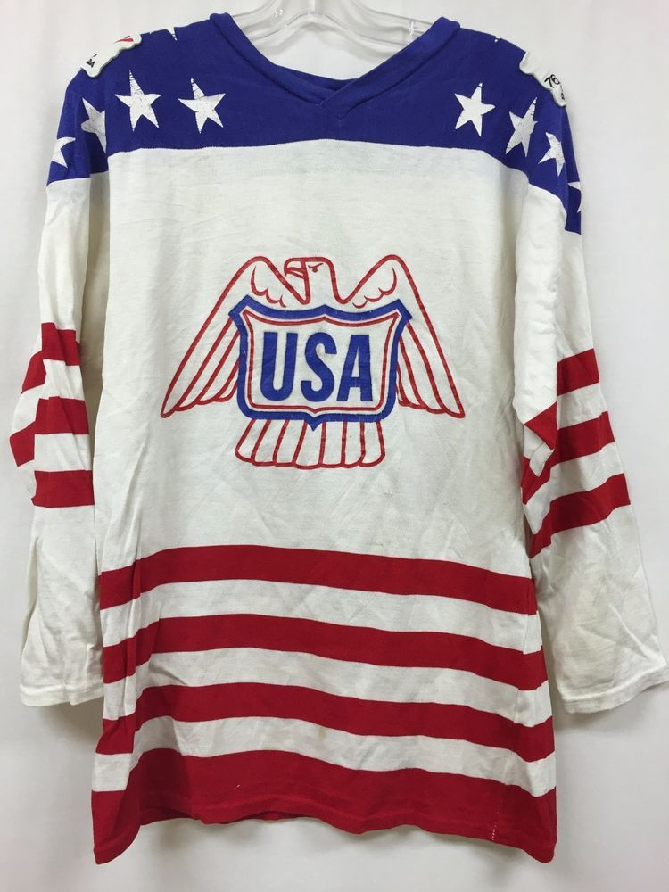 RARE Vintage Original 1976 Canada Cup USA Hockey Jersey Athletic Knit  USA 6fbe1e79b