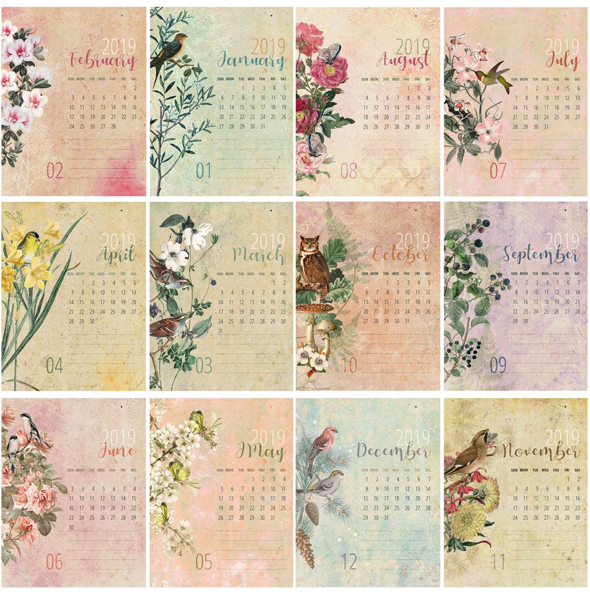 2019 2020 Floral Desk Calendar: Pin On DIY Arts And Crafts