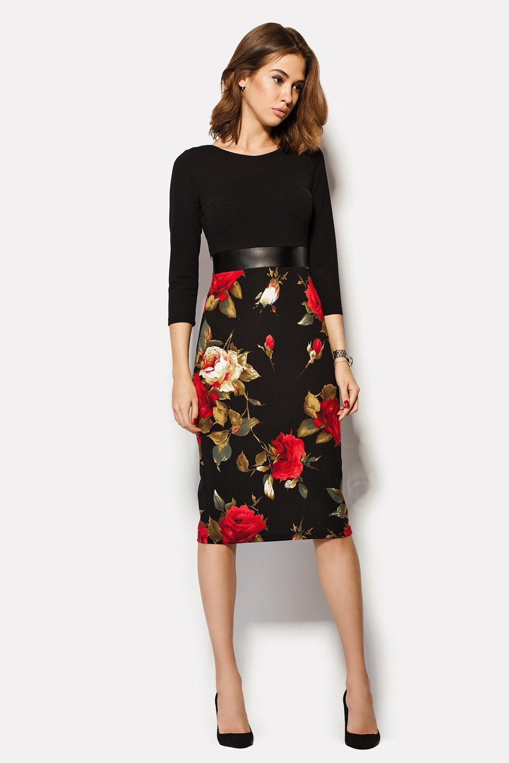 Smart Casual Dress With Roses Highwaisted Dress Floral Black