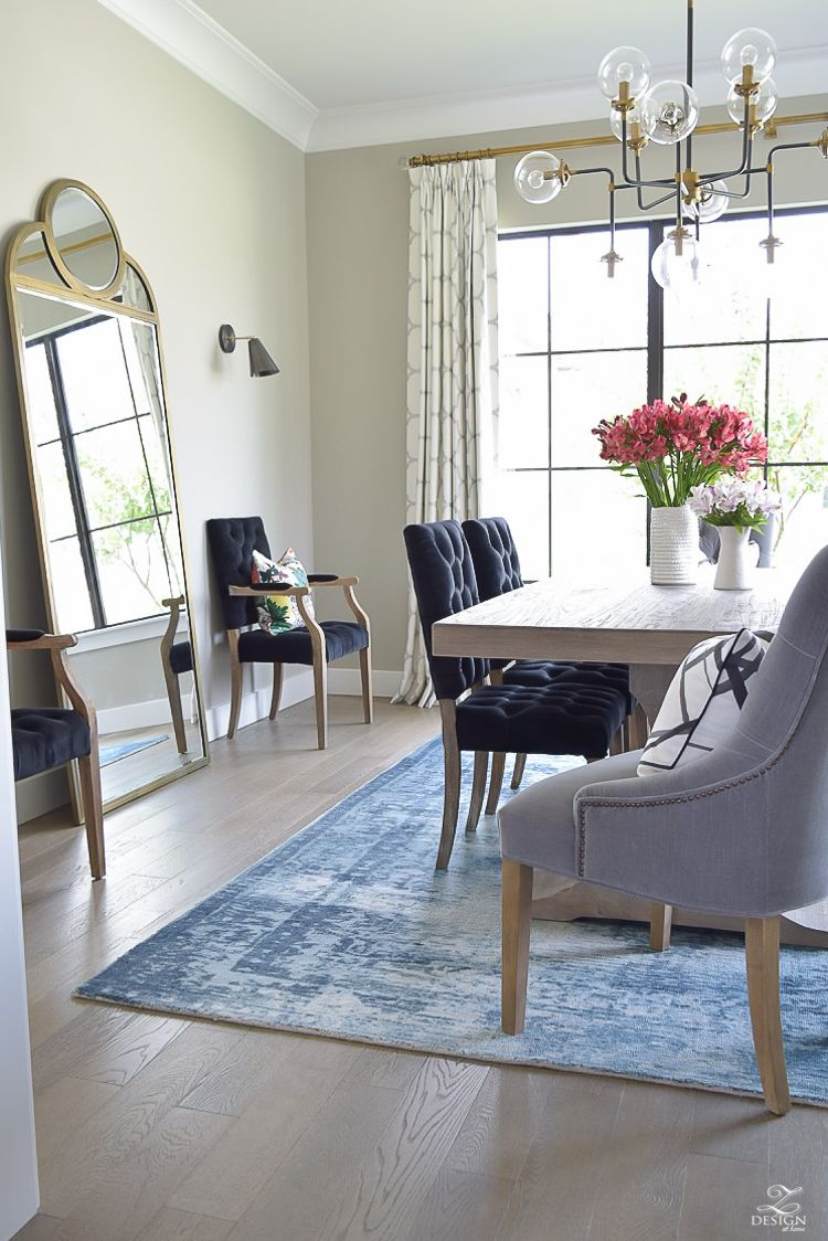 Kravet Riad Fabric Curtains In Silver Blue Vintage Inspired Rug Transitional Modern Dining
