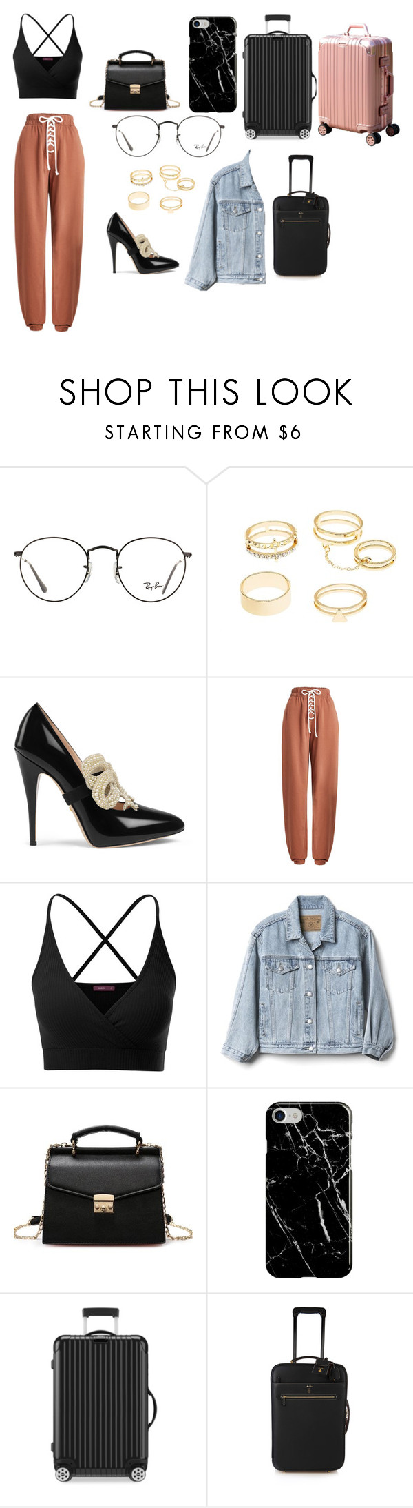"""Sem título #894"" by samaralucia on Polyvore featuring moda, Ray-Ban, Charlotte Russe, Gucci, Puma, Doublju, Gap, Recover, Rimowa e Mark Cross"