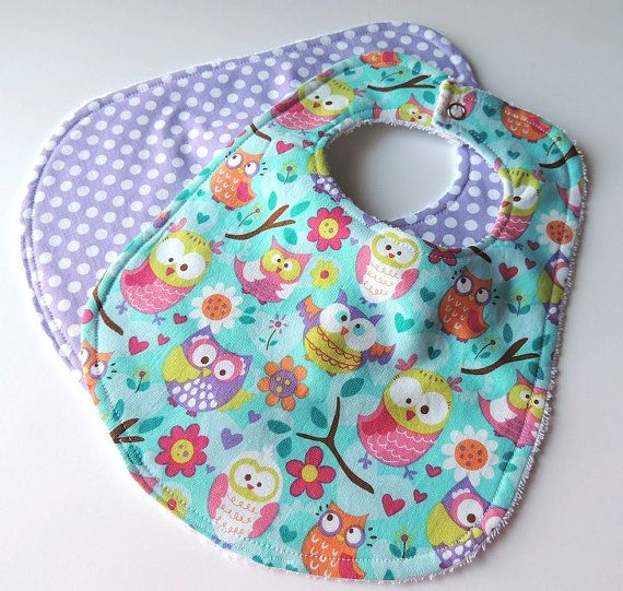 Etsy listing at https://www.etsy.com/listing/169469938/purple-owl-baby-bibs-set-of-2-owl-baby