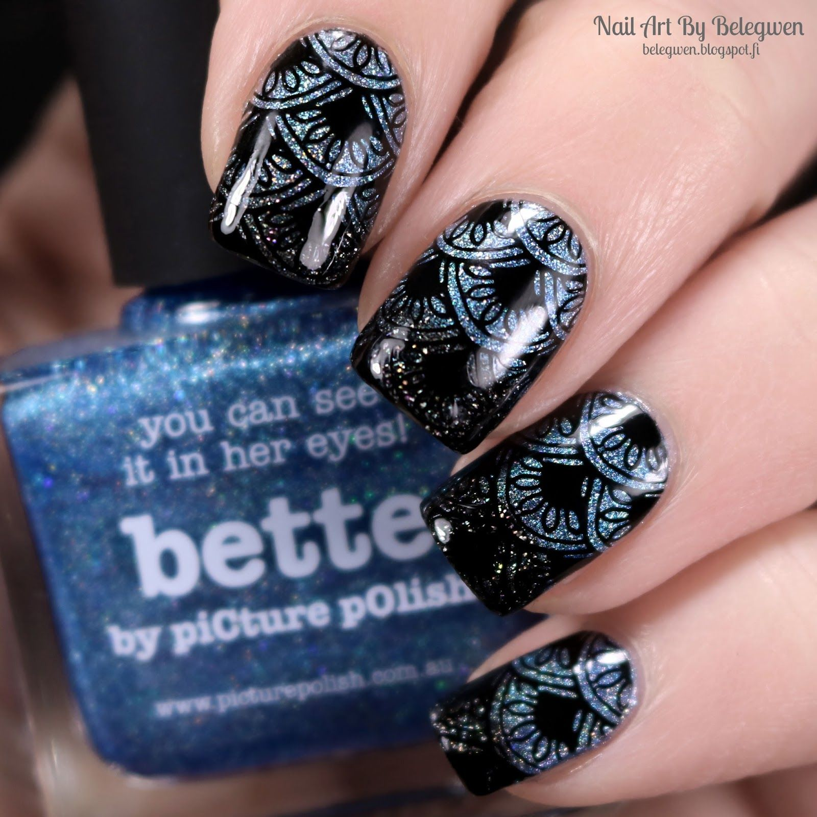 Nail Art By Belegwen: Picture Polish Bette and Dance Legend Gothic Veil with Black stamps