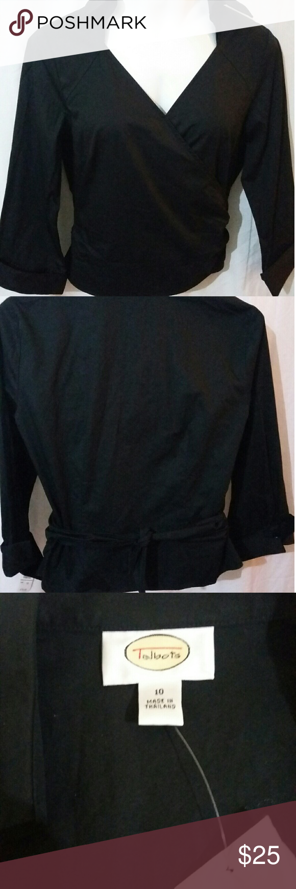 "Talbots Black Wrap Top NWT Cute Top  100 % cotton L 21"" B 38"" Sleeve 19"" Circumference on bottom 38"" Talbots Tops Blouses"