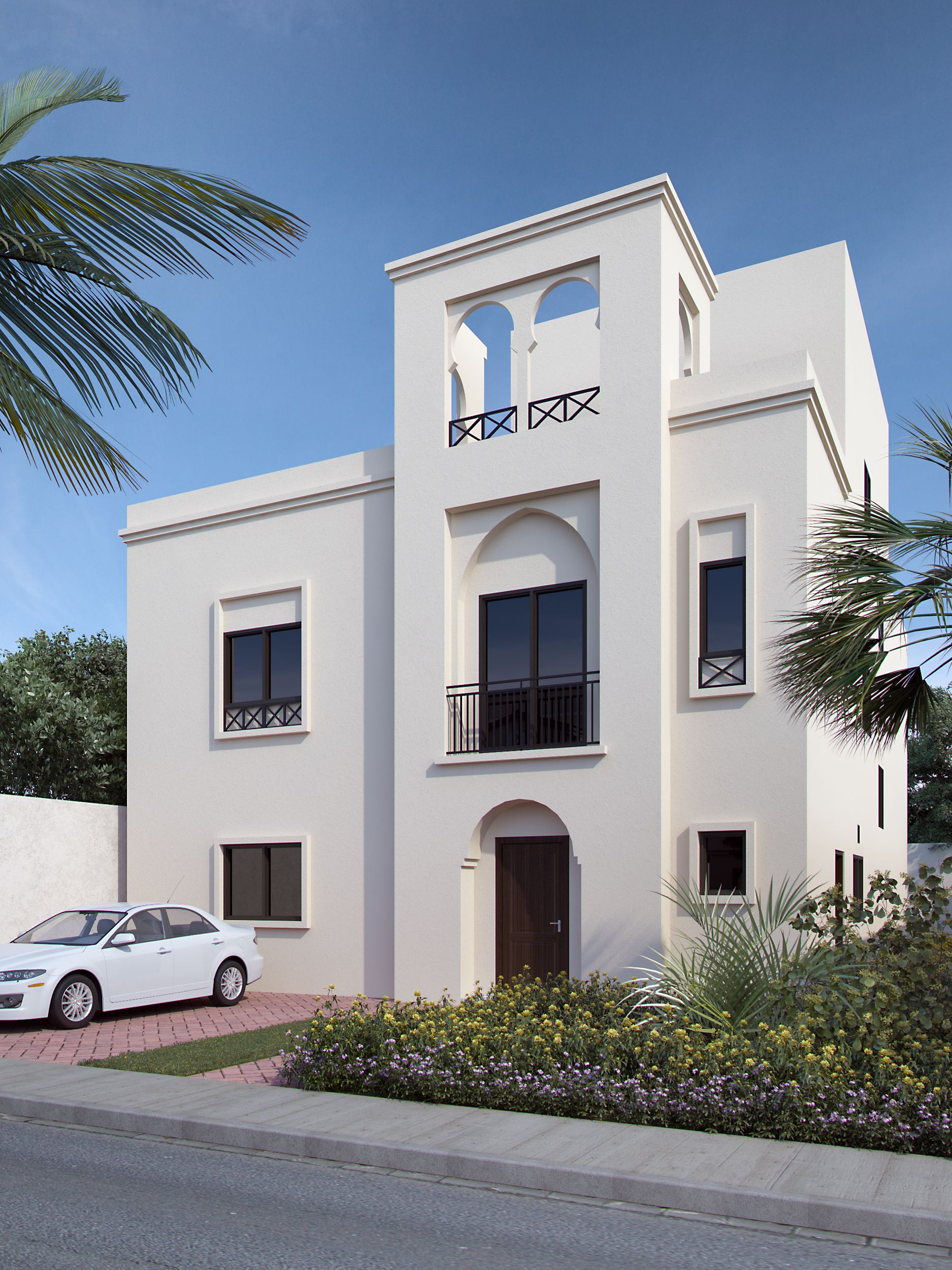 Proposed 3d Photo Rendering Of Arabic Style Villa Architectural House Plans Facade House Villa Design