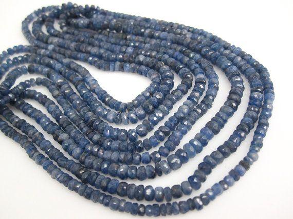 AAA Blue Sapphire Beads, Natural Sapphire Beads, Blue Sapphire Rondelles, AAA Sapphire, 3-4mm, Bride Bridal, September Birthstone, SKU 3750