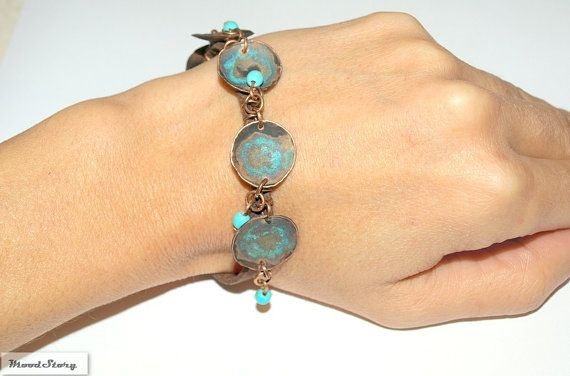 Turquoise Copper Bracelet Hammered Jewelry Adjule Bangle Blue Gemstone Beads Women Gypsy Style