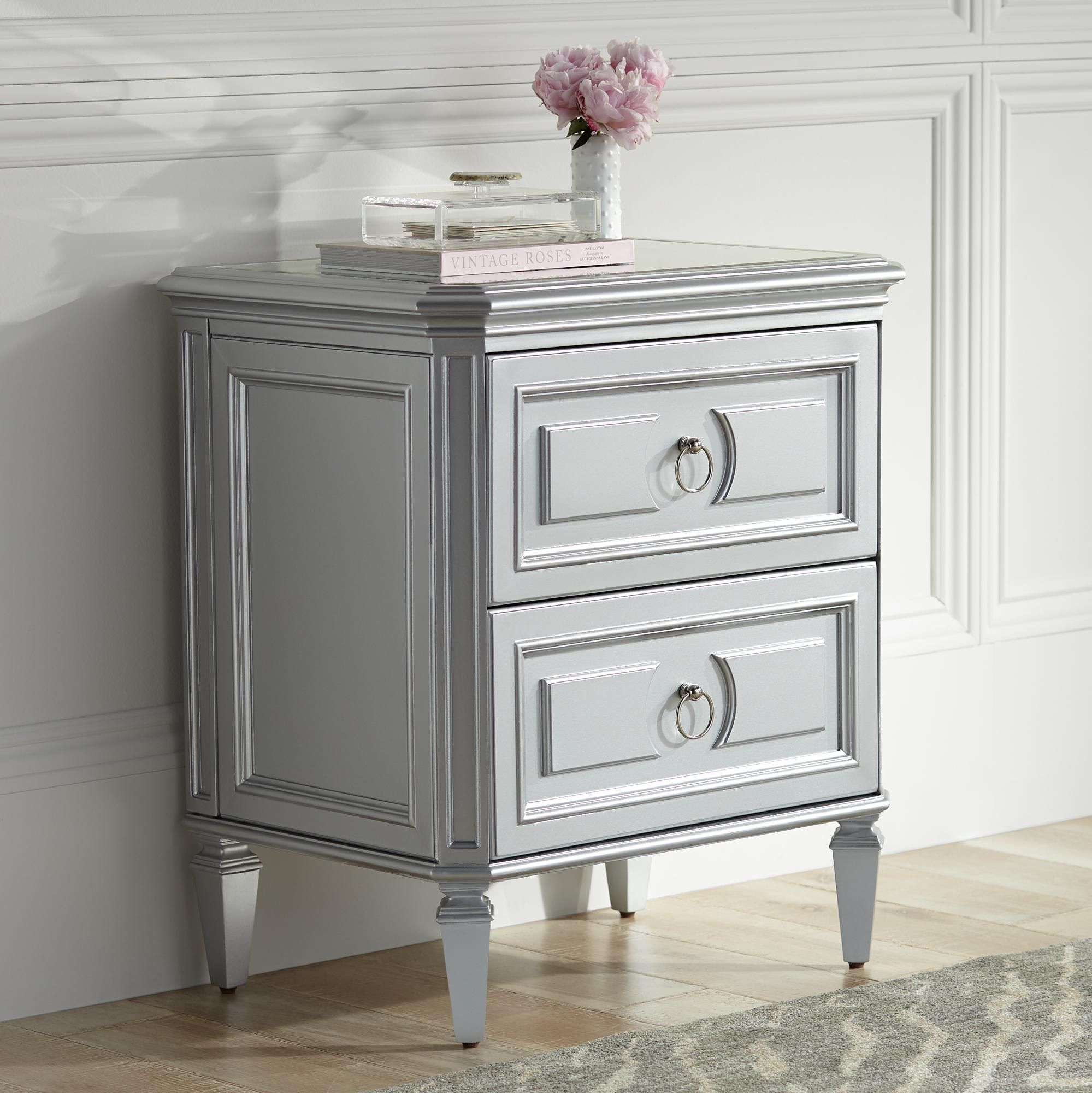 Aurora 26 Inch Wide 2 Drawer Mirrored And Silver Side Table