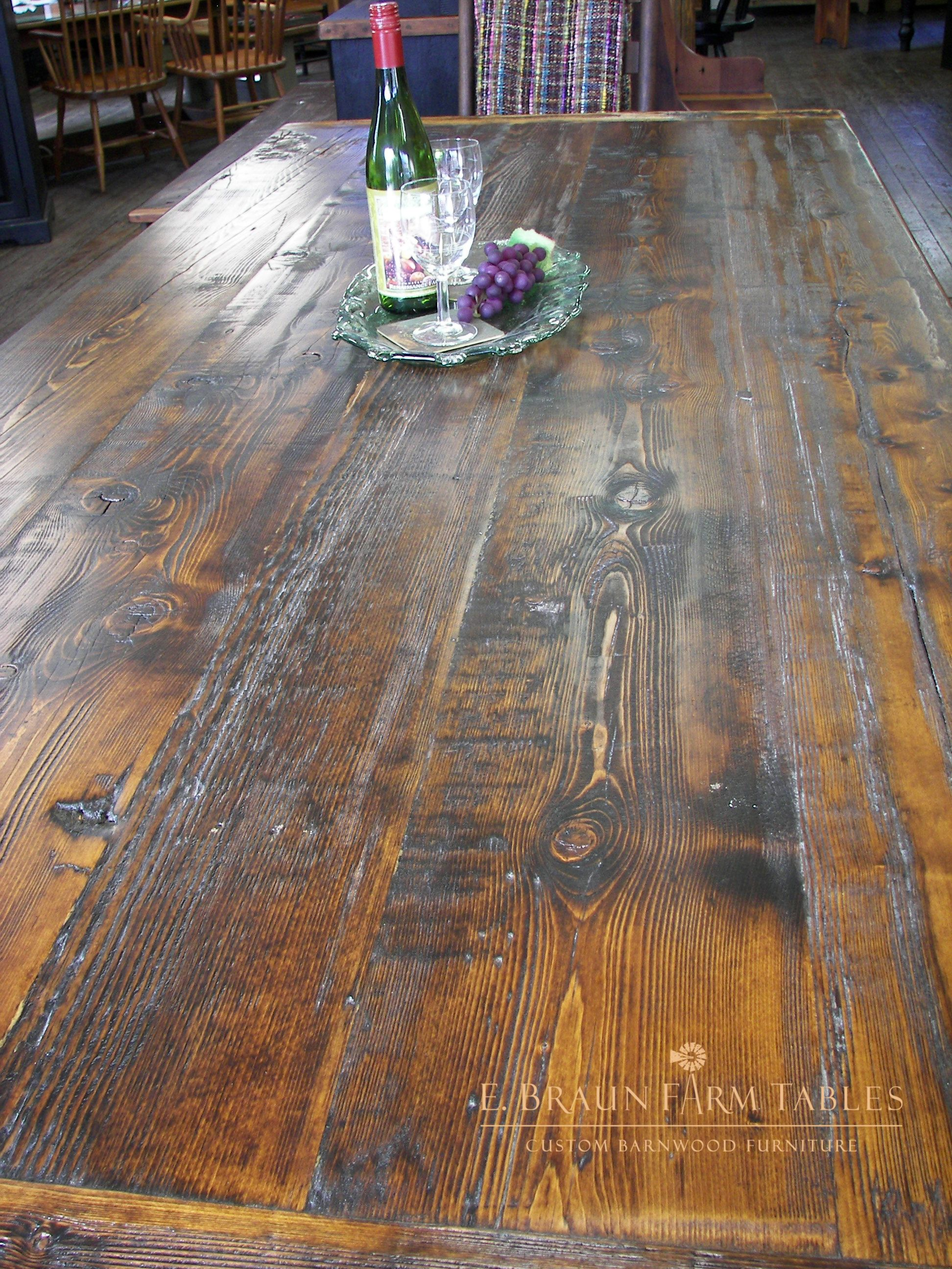 Medium Character Lots Of Texture And Wear On The Boards 8 Long Table Top This Custom Farm T Farm Table Reclaimed Heart Pine Table Rustic Dining Room Table