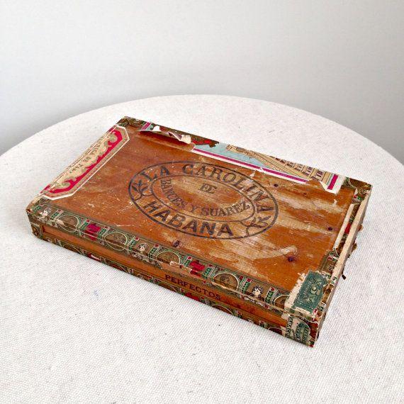 Antique Cuban Cigar Boxes Vintage Wooden Cuban Cigar Box C U B A