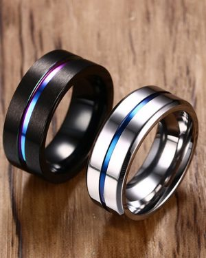 Black Titanium Ring For Men Women Wedding Bands Trendy Rainbow Groove Rings Jewelry