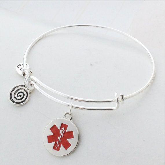 Sterling Silver Adjustable Bangle Charm Bracelet Stacking Custom Adjustable Medical ID Personalized Bracelet Sterling Silver