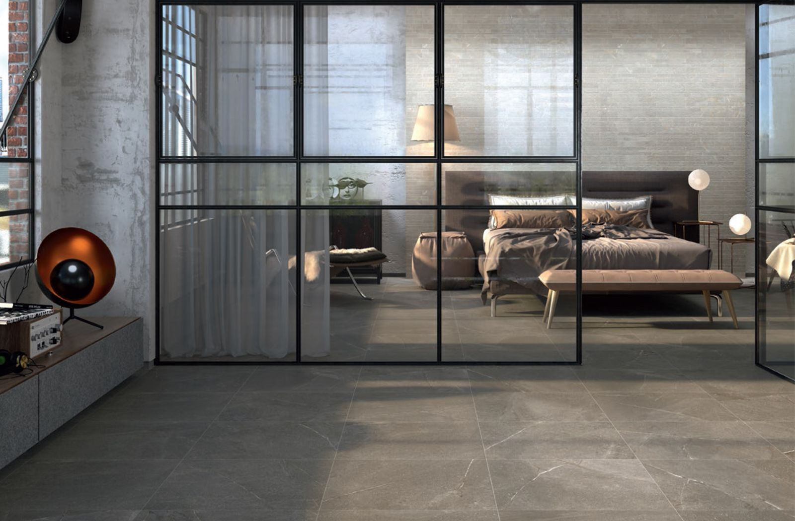 Modern Industrial Bedroom Design With Floor Tiles From Colorkers