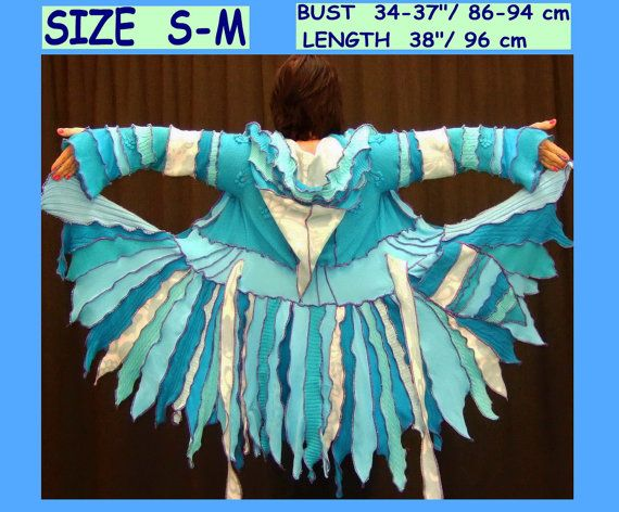 aquas pixie coat 1UniqueDesign turquoise NOW 129,- with a COUPON,,,,, elf coat, eLF sWEATER, dress, women hoodie, costium, sweater, patchwork , Recycled dress, jacket, one of a kind