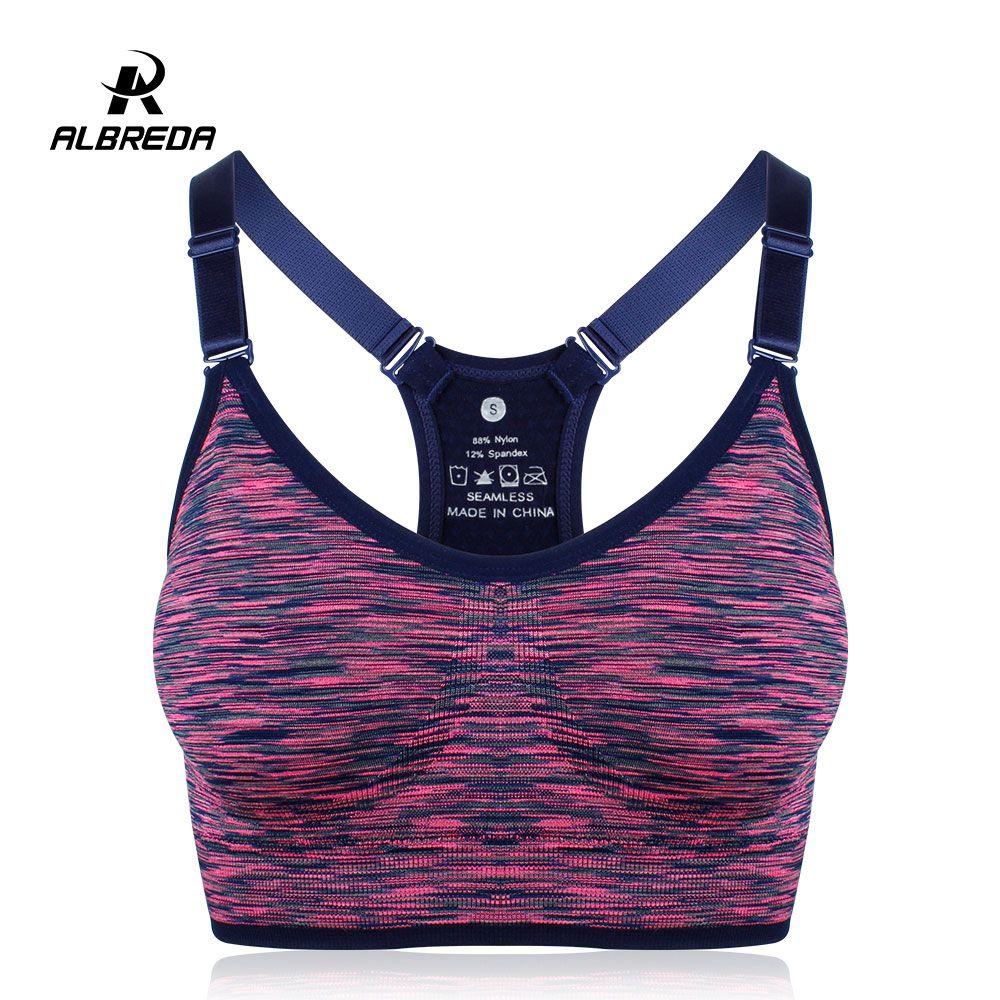 f4bcc92966 ALBREDA Women Yoga bra Sports Bra Running Fitness Gym bras female Straps  Padded Crop Top Underwear