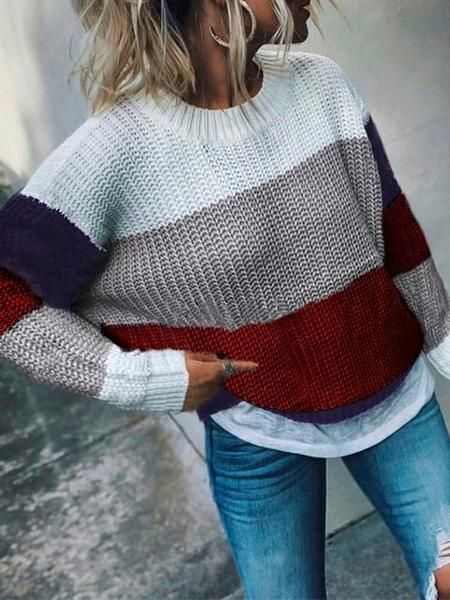 Photo of Color Block Knit Loose Comfy Sweater