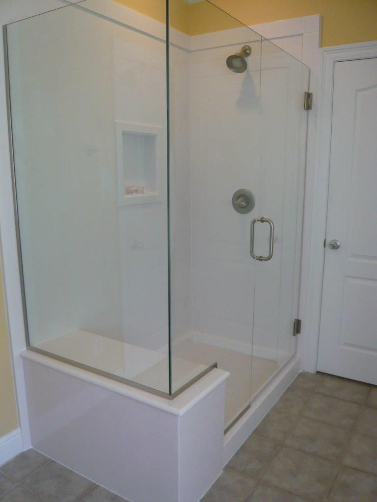 Replacing bathtub with glass shower white white cultured marble shower with bench seat and for Bathroom shower stall replacement