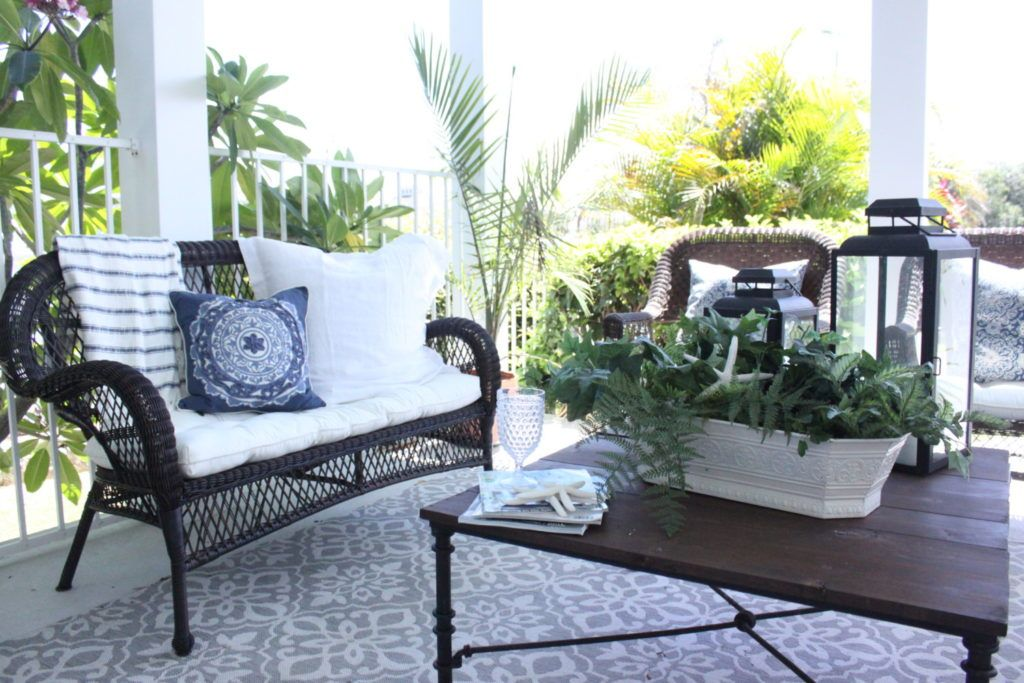 Blue And White Beachy Boho Porch Patio Porch Outdoor Furniture