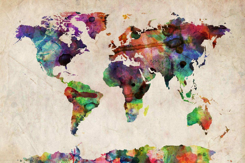 World map urba watercolor ii art print by michael tompsett world map urba watercolor ii canvas print by michael tompsett gumiabroncs Images
