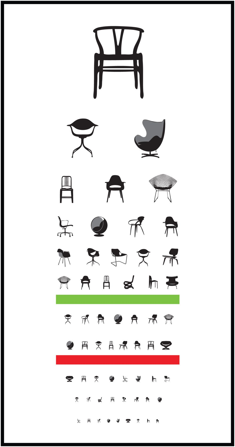 Furniture Design History wanted: an eyesight chart that's also a mid-century design quiz