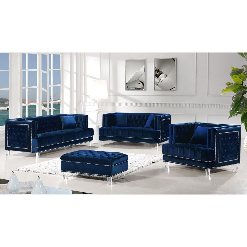 3pc Set Navy Blue Tufted Sofa Loveseat Chair Contemporary Living