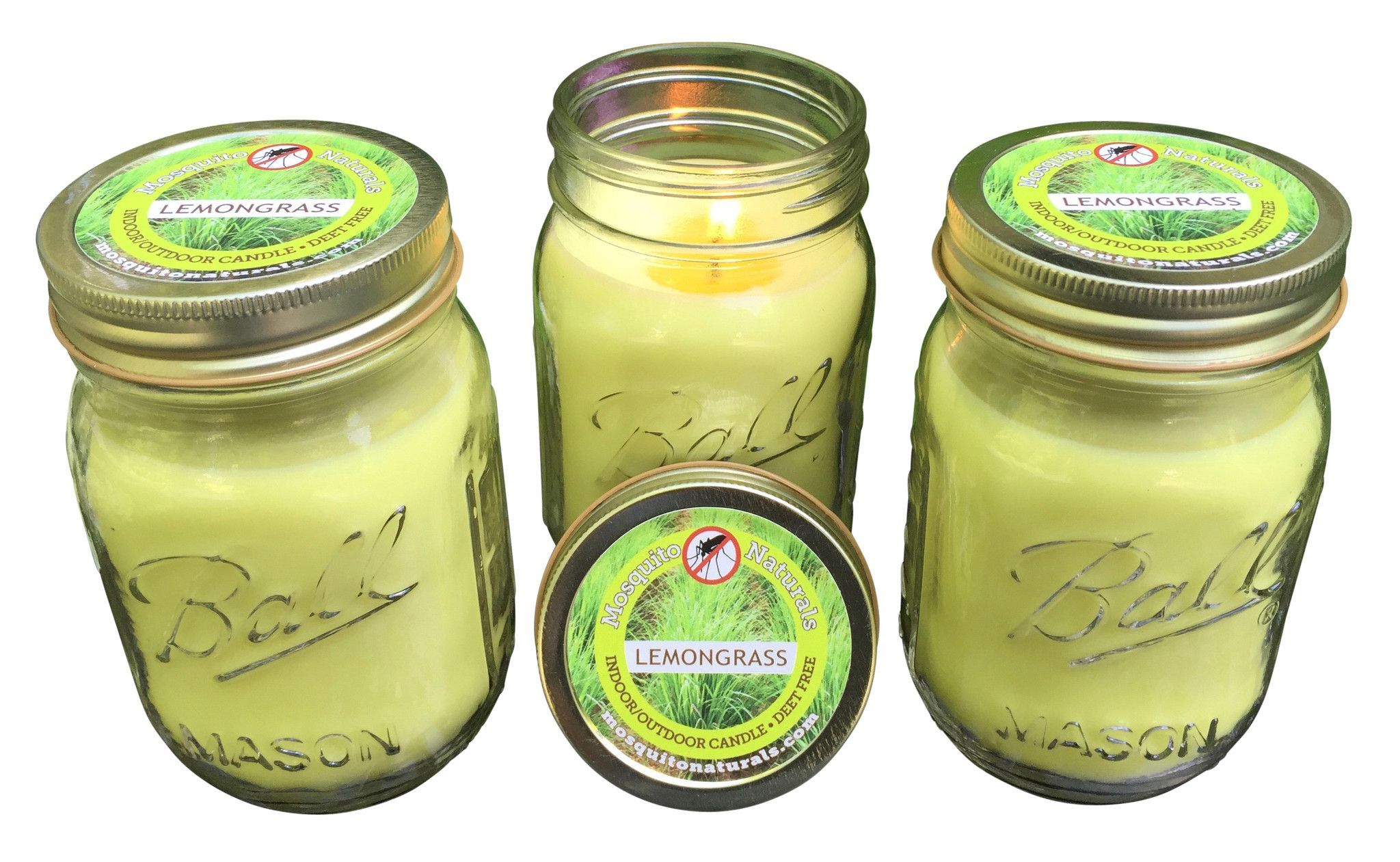 Natural Lemongrass Mosquito Repellent Candle (Set Of 3)