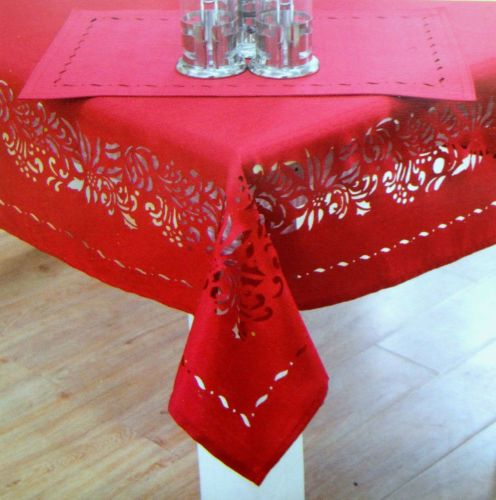 52X52 Square Fit Table Up To 28x28 Tablecloth Red Laser Cut Holiday  DIRECT2HOME