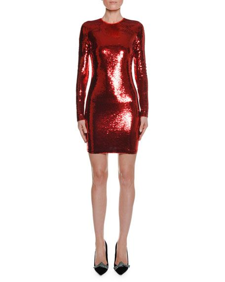 629f88a224 Tom Ford Long-Sleeve Round-Neck Liquid-Sequin Cocktail Dress | My ...