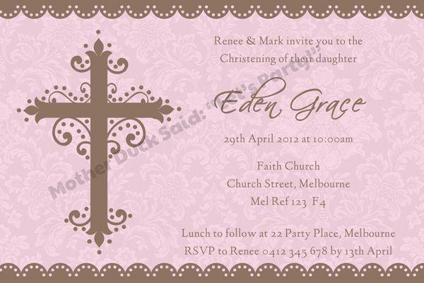 Baby Dedication Invitation Christening Invitation Baptism