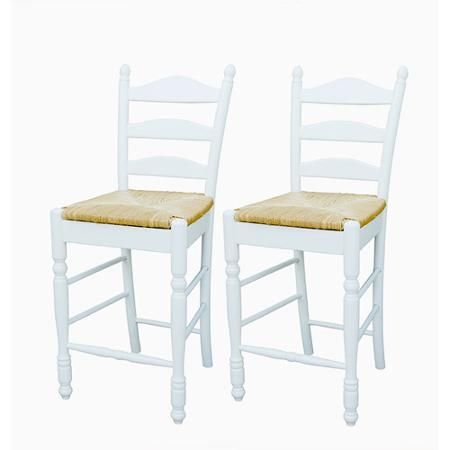 "Ladder Back Rush Seat Counter Stools 24"" Set Of 2 Walmart Adorable Walmart Kitchen Stools Design Decoration"