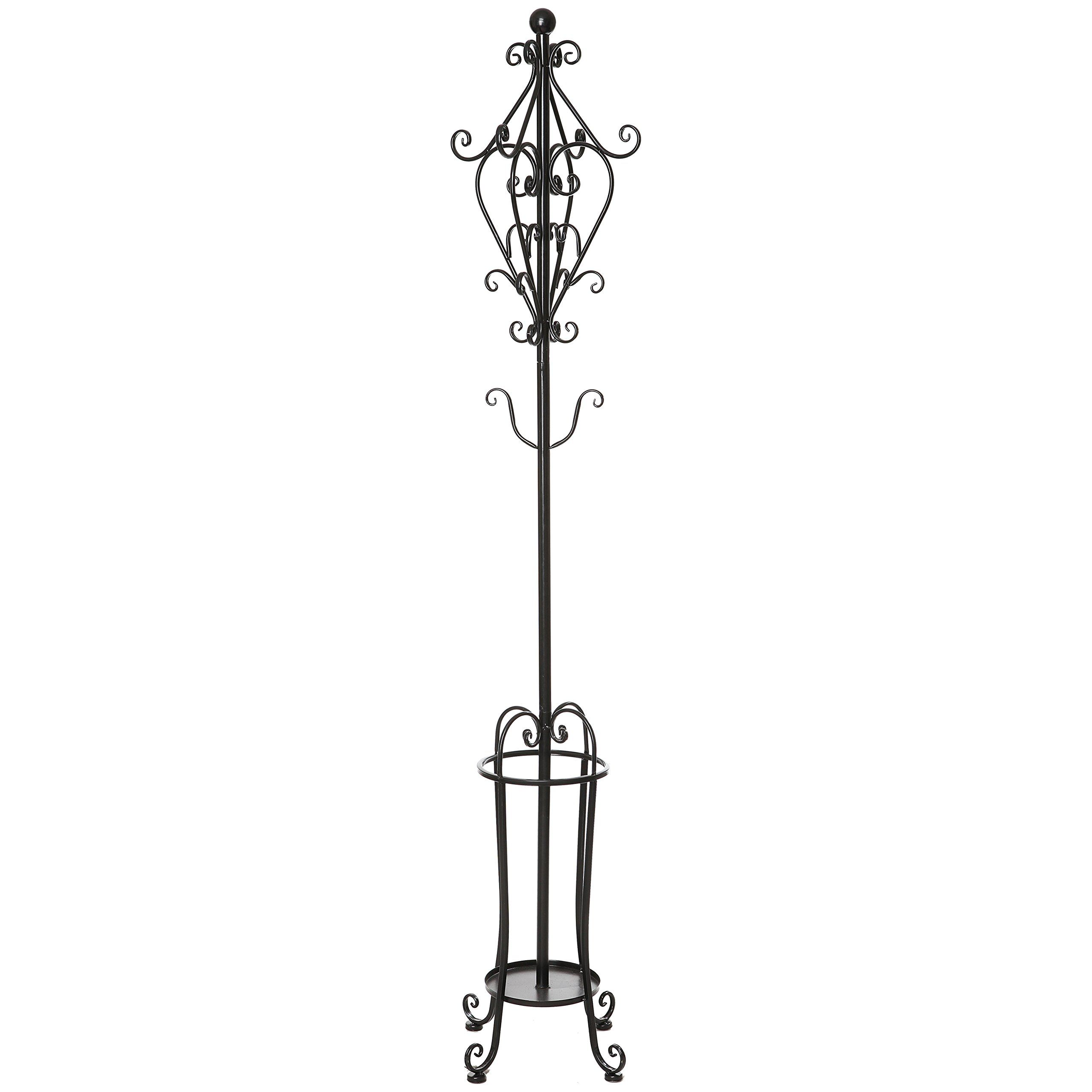 Amazon Com 6 Tall Freestanding Vintage Victorian Black Metal Scrollwork Coat Rack Hat Stand With Umbrella Holder Home Hat Rack Umbrella Holder Umbrella